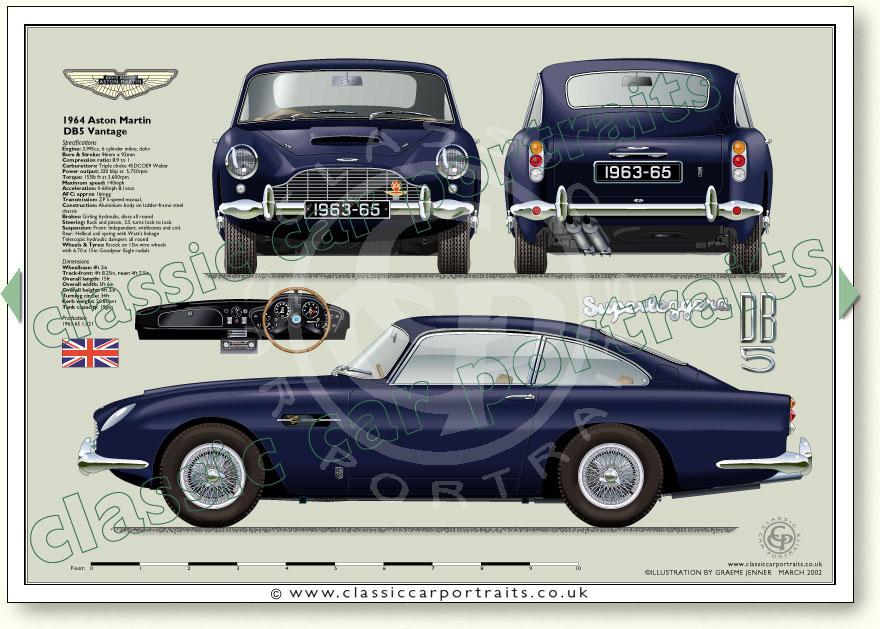 Aston Martin DB5 1963-65 clic car portrait print