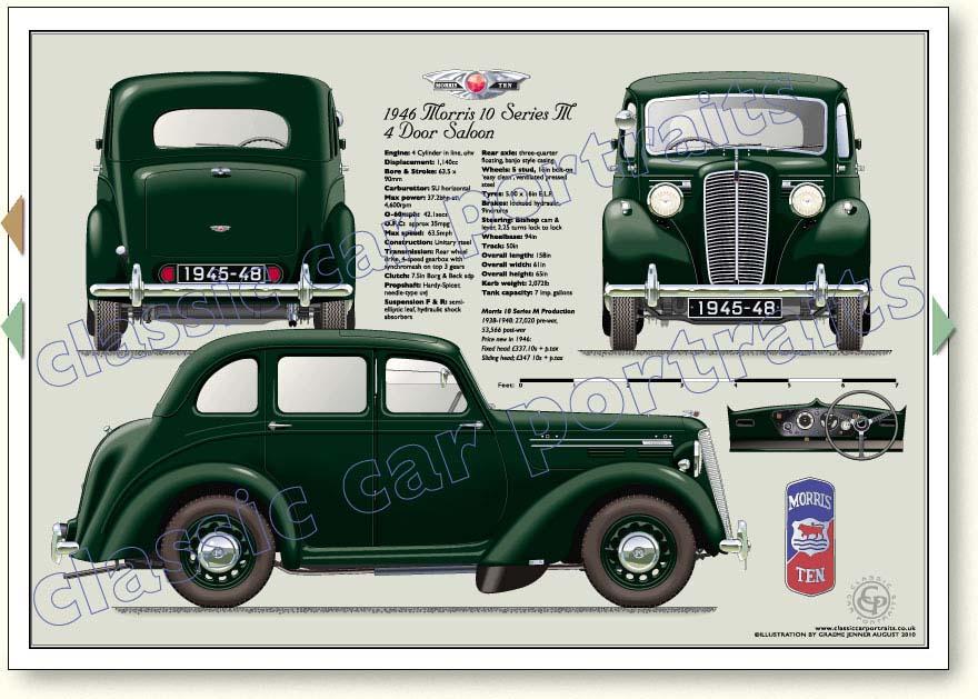 Morris Ten Series M 1938 48 Car Portrait Print