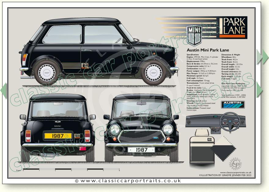 Mini Park Lane Le 1987 Classic Car Portrait Print